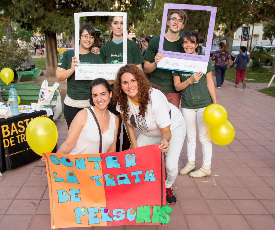 A group of Human Rights volunteers abroad campaign against human trafficking in Argentina.
